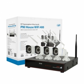 Kit supraveghere video PNI House WiFi400 NVR si 4 camere wireless, 1.0MP 1