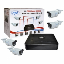 Kit supraveghere video PNI House IPMAX - NVR IP ONVIF si 4 camere HD cu IP 720P 1 Megapixel