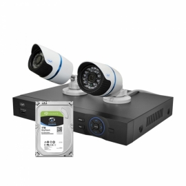 Kit supraveghere video PNI House IPMAX2 - NVR 12CH 960P ONVIF si 2 camere IP 720P cu Hard Disk 1Tb 1